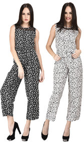Westrobe Black Floral and White Dot Printed Jumpsuit Combo of 2