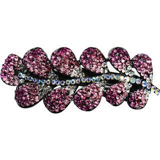 Glitters Pink Colour American Diamond Hair Clip