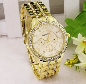 Geneva Rhinestone Full Rose gold stainless steel Quartz Watch for women / Men
