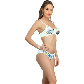 Low price mall flower print lingerie set ( print color may very )