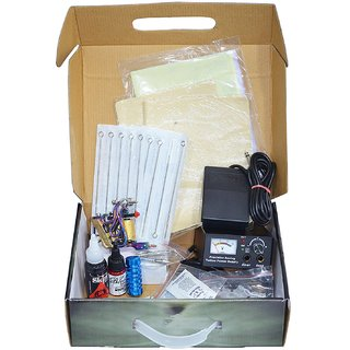 Learner Body Tattoo Kit Includes 1 Basic Machine, Tattoo Needles, Foot Switch, Clip Cord, Tattoo Ink, etc.