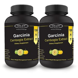 Sinew Nutrition Garcinia Cambogia Extract -(90 Capsules - Pack of 2) 1500 mg Per Serving
