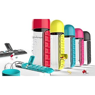 Fancy  Stylish 600ml Pill Box Organizer Portable Kit With Water Bottle Seven Compartments And Drinking Cup Random Color