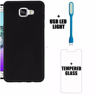Black Heat Dissipation Hollow Net / Jali Designed Thin Soft TPU Back Case Cover for Samsung A7 2017/ A720 BY MOBIMON