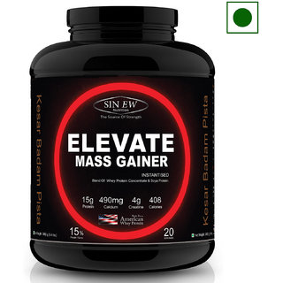 Sinew Nutrition Elevate Mass Gainer with DigiEnzymes, 3-1 Ratio (carb-protein), 2 kg Kesar Badam Pista