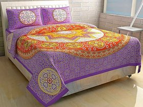 Shopping Zone Jaipuri  Cotton Double Bedsheet with 2 Pillow Covers