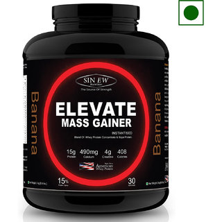 Sinew Nutrition Elevate Mass Gainer with DigiEnzymes, 3-1 Ratio (carb-protein), 3 kg Banana