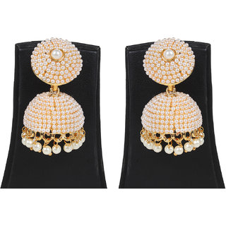 Jewels Gold Alloy Party Wear Fashionable Stylish Simple Jhumki Earring Set For Women  Girls