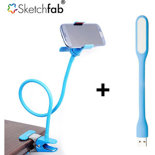 Combo of Portable Foldable Universal Flexible Mobile Holder Lazy Stand + Portable Flexible USB LED Light