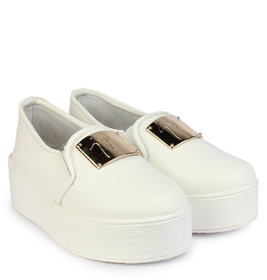 Do Bhai Women's White Smart Casuals Shoes