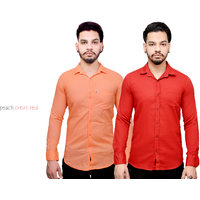 Fashion Trend Combo Of Orange And Carrot Red Casual Slimfit Shirts
