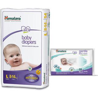 Himalaya Baby Diapers L (54) + Himalaya Gentle Baby Wipes 24s