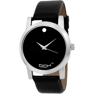 DCH Round Dial Black Leather and Synthetic Strap Men Quartz Watch For Men