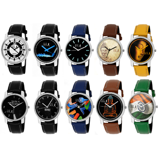 GUG Round Dial Multi Synthetic Leather Pack of 10 Stylish Analogue Watches For Men And Boy's