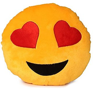 Prints Ways Round Heart Eyes Emoji Emoticon Cushion Soft Pillow-Toy Gift Heart Eyes