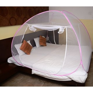 Classic Mosquito Net Foldable Mosquito Net (Pink) (Size-Double Bed)