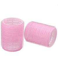 12x LARGE Velcro Cling Rollers Curlers Hair Style Salon DIY Pink 4.9cm DIA