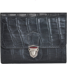 Mandava Genuine Leather Croco Printed Black Ladies Wallet