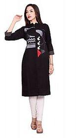 Black Designer Cotton Flex kurti