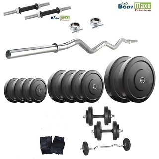 Body Maxx Premium 22 Kg Home Gym + 2 Pcs Dumbells Rod's + 3 Feet Curl Bar +Glove
