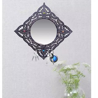 Onlineshoppee MDF Decorative Beautiful Design Wall Mirrorr With 6 Key Holder