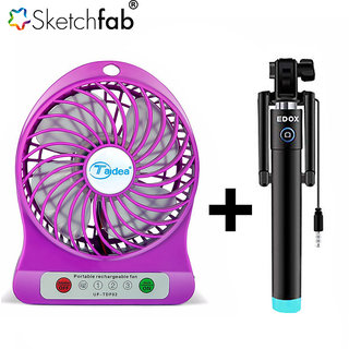Sketchfab Combo of Rechargeable Battery USB Mini Fan Selfie Stick - Assorted Color