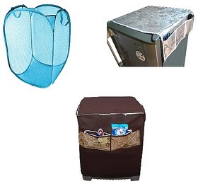 Jim Dandy Combo Of Washing Machine Cover, Fridge Cover And Foldable Laundary Bag