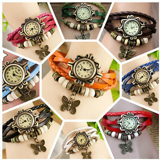 Vintage Designer Leather Women Watches Combo (Pack of 2)