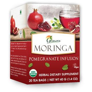 Grenera Organic Moringa Pomegranate Infusion-20 Tea Bags/Tea