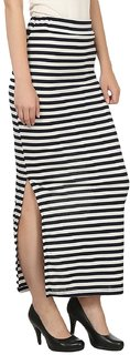Raabta Black and White Polycotton Strip Skirt
