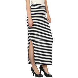 Raabta Black and White Strip Skirt