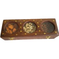 Hand Made Wooden Dry Fruit Box With Brass Carving(3 In 1) - The Woods Hut