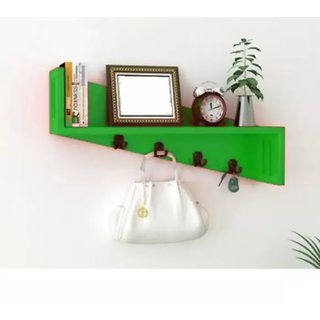 Onlineshoppee MDF Plegable Wall Shelf With Key Hooks
