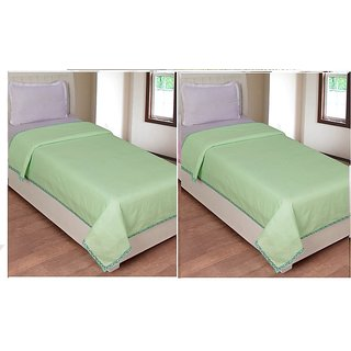 AS Beautiful Plain Design single Bed Top sheet (set of 2 ) - Green