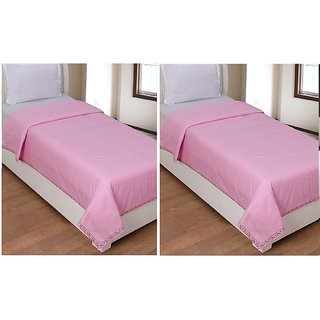 AS Beautiful Plain Design single Bed Top sheet (set of 2 ) - Pink