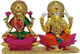 Brass 24 K Gold Plated with Stones Lord Laxmi Ganesha Statue Hindu Goddess Laxmi and God Ganesh Handicraft Idol Diwali Decorative Spiritual Puja Vastu Showpiece Figurine - Religious Pooja Gift Item  Murti for Mandir / Temple / Home / Office
