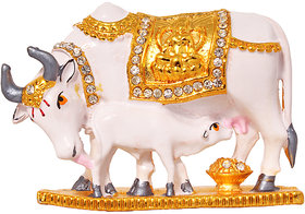Brass 24 K Gold Plated with Stones Cow N Calf Idol Kamdhenu Cow and Calf Statue , Mahadev Mount / Nandi Handicraft Decorative Spiritual Puja Vastu Showpiece Figurine - Religious Pooja Gift Item  Murti for Mandir / Temple / Home / Office