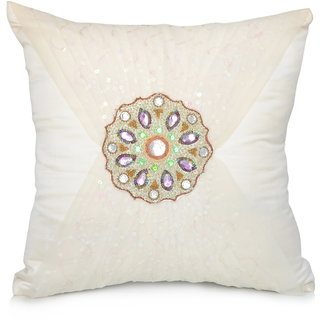 Jagdish Store White Embroidered Polyester Cushion Cover