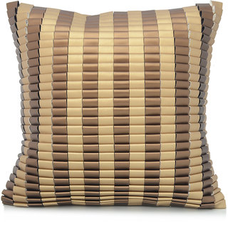 Jagdish Store Brown Striped Faux Leather Cushion Cover