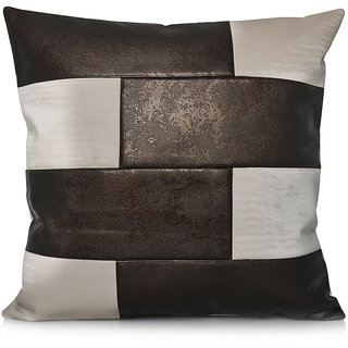 Jagdish Store Brown and Beige Check Design Faux Leather Cushion Cover
