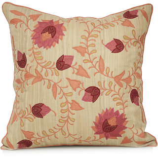 Jagdish Store Beige Embroidered Silk Cushion Cover