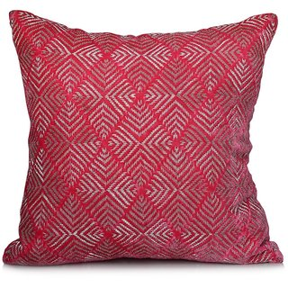 Jagdish Store Pink Embroidered Velvet Cushion Cover