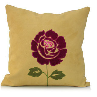Jagdish Store Yellow Pah Worked Velvet Cushion Cover