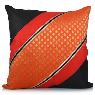 Jagdish Store Orange and Black Brocade Worked Polyester Cushion Cover
