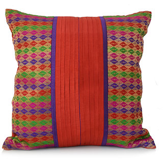 Jagdish Store Red Brocade Worked Polyester Cushion Cover