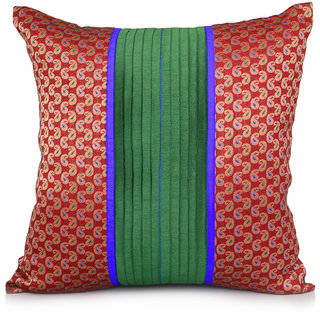 Jagdish Store Green Brocade Worked Polyester Cushion Cover