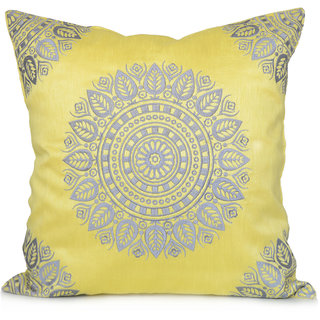 Jagdish Store Yellow Embroidered Polyester Cushion Cover