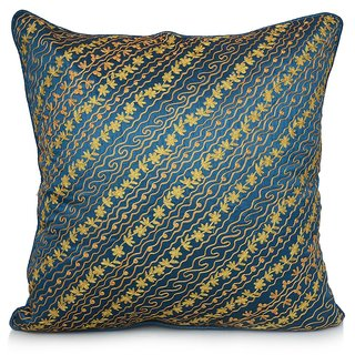 Jagdish Store Turquoise Embroidered Polyester Cushion Cover