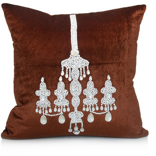 Jagdish Store Brown Embroidered Velvet Cushion Cover