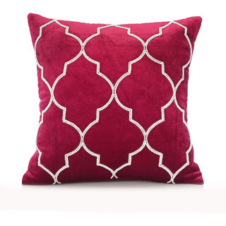 Jagdish Store Red Stone Worked Velvet Cushion Cover